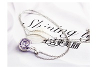 Silver purple crystal fine chain& for female holiday gift European style jewelry & factory outlet