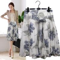 2014 new short skirt lacing a-line skirt tulle  print bust skirt summer women's medium