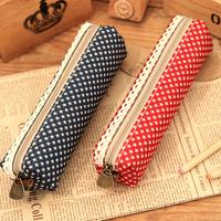 Ann Pencil Cases Brief Canvas Fresh Polka Dot Pencil Case Pencil Box Storage Bag Korea School Supplies Stationery Cute Kawaii