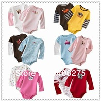 2013 Newborn Rompe for Boy Baby Girl's Rompers Long Sleeve Kids Carter's Bodysuit Infant Romper Carters Baby clothing Multicolor
