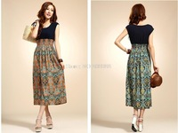 Spring new dress Bohemian national wind chiffon dress Floral long section of thin skirt