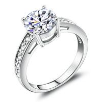 bright luxury Swiss Diamond Ring bright 925 sterling silver rings high - grade artificial diamond ring