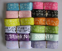 Printed Grosgrain ribbons 1'' Heart dots ribbons 60 yards(5yards/colors) craft accessory