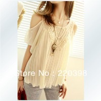 2013 HOT Women Ladies Sexy vintage crochet lace pleated chiffon shirt lotus leaf sleeve Off-shoulder tops Blouses 3232