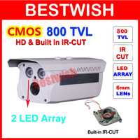 Freeshipping 2pcs IR 50M Array LED Waterproof Color CCTV Camera 1/3 CMOS  960H 800 TVL IR-CUT Filter Night Vision With Bracket