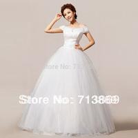 2013 Beige Women Slim Slit Neckline Diamond Tutu Wedding Dresses S,M,L,XL,XXL Free Shipping