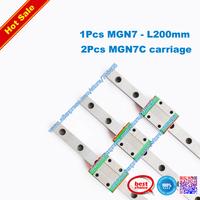 7mm rail guides MGN7 - L 200mm miniature linear CNC rail with MGN7C linear carriage(1pcs 200mm rail guides+2pcs MGN7C)