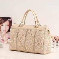 NEW 2013 fashion handbags for women high quality brand designers PU leather hobo girls black Lace messenger Bags free shipping
