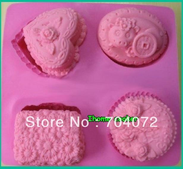 Venda quente 1 pcs quatro flor Silicone Handmade Soap pudim mooncake vela Jelly bolo molde cortador de biscoitos artesanato(China (Mainland))