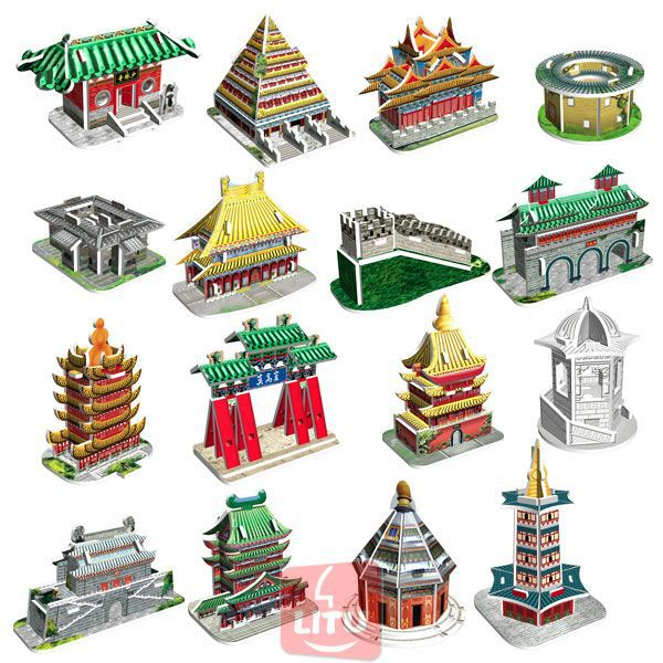 LITU 3D PUZZLE/JIGSAW PUZZLE/EDUCATIONAL/TOYS_architecture/building_16 styles/lot_Chinese Traditional Buildings Style No.7002(China (Mainland))