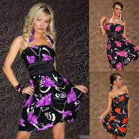 M XXL Plus Size 2013 Flower Printed Casual Dress Women Clubwear with Sashes Lady Mini Flower Print Dress Party Wear 2221