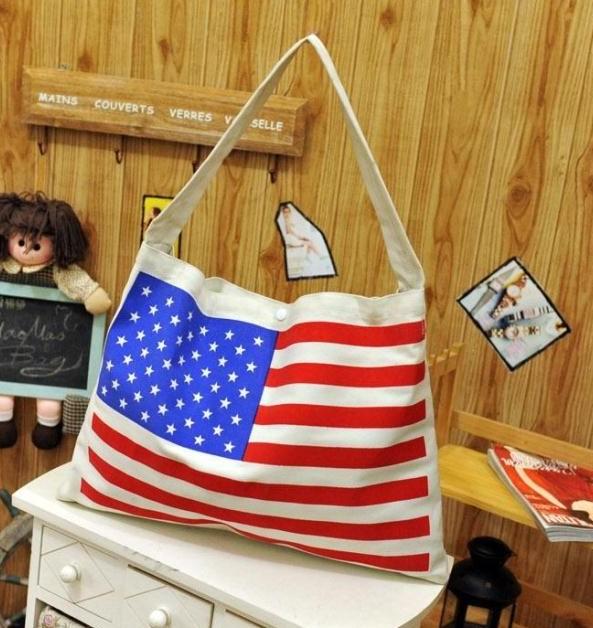 New arrival, Stars and stripes USA flag design canvas tote bag, fashion large women shoulder bag,lady leisure handbag TCL001(China (Mainland))