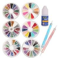 3 Wheels Combo Set Nail Art set Nailart Manicure Rhinestones Glitter Tips Deco + 2x Dotting Pen + Glue