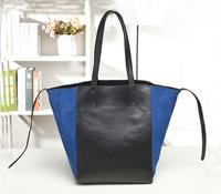 Fashion Genuine Leather With Nubuck Cowhide Patchwork Bucket Bag Shoulder Bag Designer Brand Women Vintage Bag Shopping tote Bag
