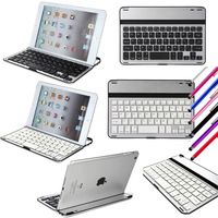 Aluminum Shell Bluetooth Keyboard Snap On Case Cover Stand For Apple iPad mini White/Black + Stylus Pen