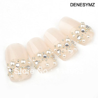Nude pearl nail art nail nail patch bride adhesive nail art products