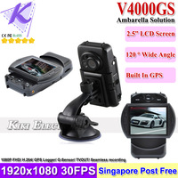 "Newest Car DVR Recorder V4000GS with Ambarella Super IR Light+2.7"" LCD+G-Sensor+ GPS Logger + H.264 +SG Post FreeShipping"