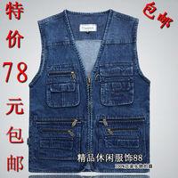 Quinquagenarian plus size plus size denim vest autumn and autumn men's clothing waistcoat male vest  blue jean vest for men