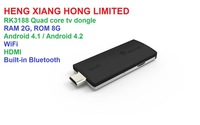 HK Air Free Shipping, Android 4.2  mini PC DLNA tv stick 2G RAM 8G ROM Built-in  Bluetooth Quad Core Rk3188 tv dongle MK908 B