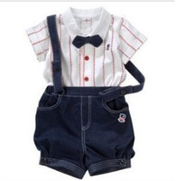 New Retail Children clothing set Baby Gentleman suit Boy's overalls suspenders+T-Shirt Free shipping