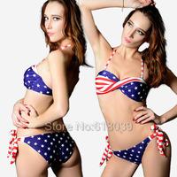 B006 VS Bandeau Top Brand Swimwears For Women American Bikini Set STRIPES USA Flag Sexy Biquinis Twisted Swimsuit Bathing Suit