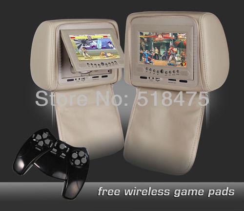 """2 X 7"""" DIGITAL SCREEN Car Headrest DVD Players with 32Bit GAMES, USB, SD, IR/FM transmitter, Zipper Cover(China (Mainland))"""