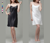 2013 Summer Womens 2pc Silk Night Dress night Gown Nightgowns Sleepwear  Silk Bedgown Black Pink Blue Coffee
