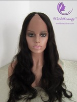 "(Gift + Free shipping+ top quality) Unprocessed virgin hair lace front wig U Part Wig 20"" natural color natural straight"