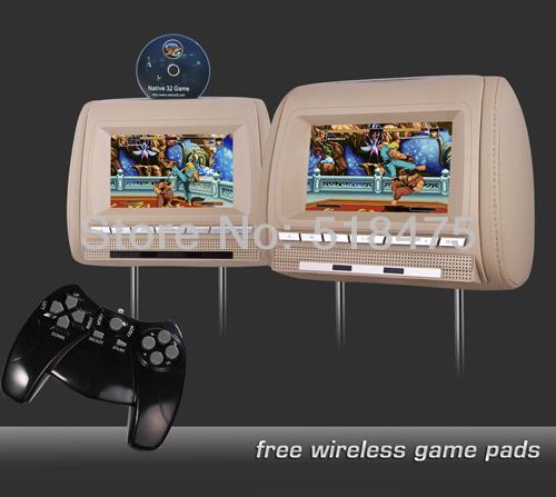 "2 X 7"" DIGITAL SCREEN Car Headrest DVD Players with 32Bit GAMES, USB, SD, IR/FM transmitter(China (Mainland))"
