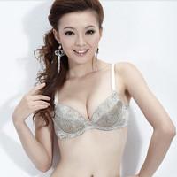 Silk underwear thin thick silk adjustable push up bra leopard print silk material bra 8128