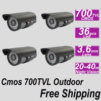 Free shipping IR 700TVL CCD CCTV outdoor use bullet waterproof security surveillance video camera installation monitor system