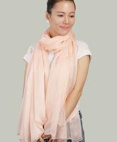 Light Pink Color 100% Pure Silk Chiffon Women Scarves Free shipping 185cmX65cm