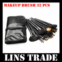 Free Shipping New 32PCS/Set cosmetic facial makeup brush kit make up brushes tools + black pouch bag #8175