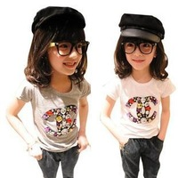 2014 summer girls clothing, short sleeve t-shirt for girl, rhinestone diamond t shirt 2 c design, size 100 to 140, new tops tees