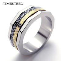 TSR075676 Fashion Rotatable Greek Key Ring Men's 316L Stainless Steel Rings