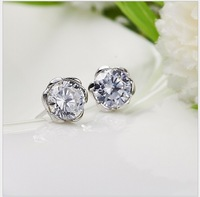 Free Shipping 2013 Hot 7.5mm CZ Stud Earrings Zircon Stud Earrings 925 Sterling Silver Stud Earrings Dont Loss Color