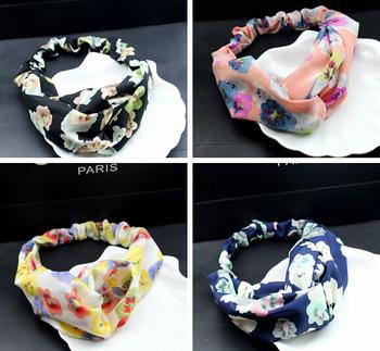 50pcs/lot Free Shipping Fashion Soft Chiffon Flower Printed Fabric Cross Knot Elastic Hairwrap Hair Bandanas Scarves Wholesale
