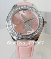 Free shipping 10pcs/Lot fashion set diamond quartz strap watch rabbit head ms classic retro fashion watches