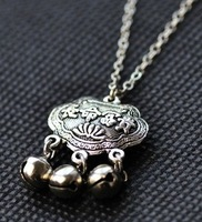 Kids birthday jewelry gift miao silver carved craft small bell longevity lock chain necklaces for boys and girls
