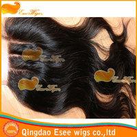 Hotsale Top Grade 100% Virgin Brazilian hair 3 part lace closure bleached knots,4X4inch density 120%, natural color stock