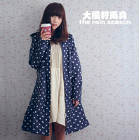 Free shipping women's longer fashion adult raincoat white polka dot  blue rain poncho rain bicycle ridding raincoats
