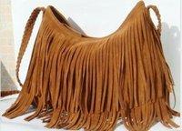 Free Shipping Factory direct 2013 hot Fringe Tassel Shoulder Messenger handbag Suede handbag-Brown Color ,Message bag five color