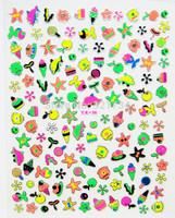 2014-Jun newest  child kids like super thin 0.04mm 3d nail art sea cartoon sticker neon decal florescence gold YX-56 decor