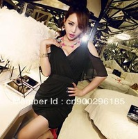 2013 summer new sexy club fashion ladies dresses, chiffon sheath v neck evening party dresses for women,free shipping