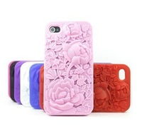 For iPhone4 mobile phone holster personalized silicone protective shell casing of  3D Rose
