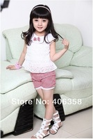 2013 New Summer infant and baby girl new fashion clothes one shirt one pant freeshipping ID1205