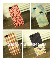 HOT promotion! mobile phone case for iphone 4 4s 5 5s hard back cover shell skin cartoon flower colored high quality 20pcs/lot