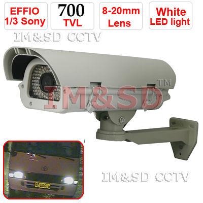 Profissão CCTV 700TVL Effio 8-20mm Lens 90 Leds OSD número da placa do carro captura Camera IR Frete grátis(China (Mainland))