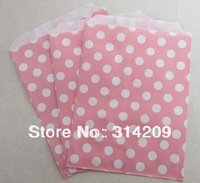 "Promotion! 5"" x 7"" - Light Pink Polka Dot Paper Popcorn Bags, Favor Paper Bag Wedding Decoration, Party Candy Cake Popcorn"