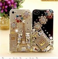 Handmade Perfume Bottle case for iphone 4 4s case phone bag protective sleeve shell diamond bling flower